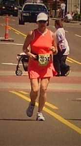My mom running in her 50th birthday marathon.